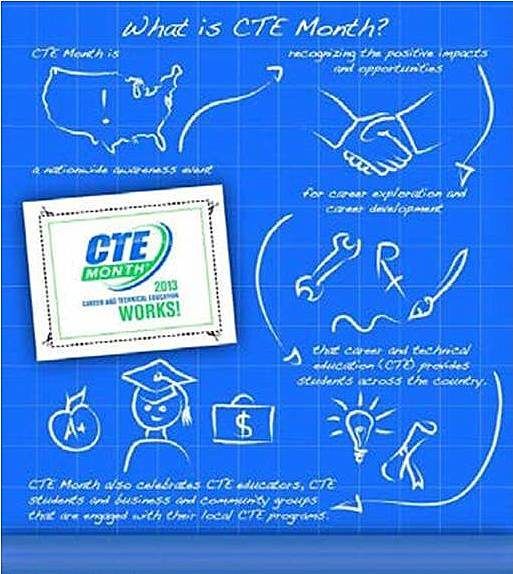 winning CTE month poster designed by NBRS high school student