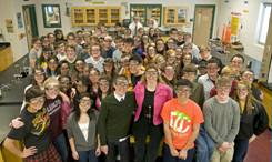 Michelle Shearer with AP Chemistry students